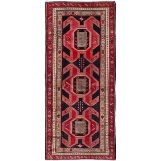 eCarpetGallery  Hand-knotted Ardabil Dark Navy, Red Wool Rug - 4'1 x 9'4