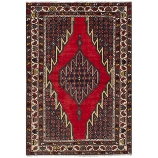 eCarpetGallery  Hand-knotted Hamadan Red Wool Rug - 4'2 x 6'6