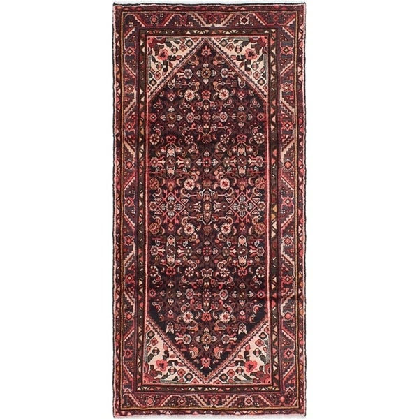 eCarpetGallery Hand-knotted Hosseinabad Black Wool Rug - 3'7 x 7'7