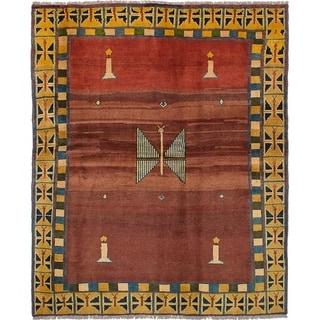 eCarpetGallery  Hand-knotted Persian Gabbeh Dark Red Wool Rug - 6'1 x 7'6