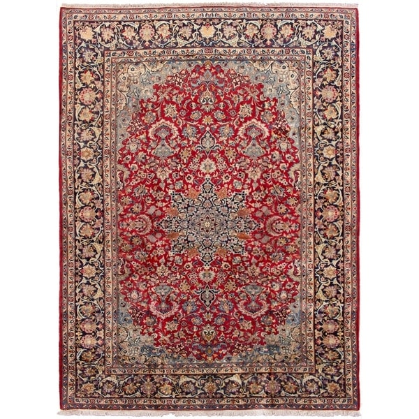 ECARPETGALLERY Hand-knotted Najafabad Red Wool Rug - 9'10 x 13'3