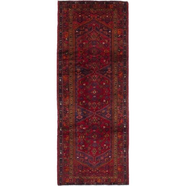 eCarpetGallery Hand-knotted Hamadan Dark Red Wool Rug - 3'11 x 10'7
