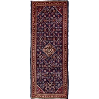 eCarpetGallery  Hand-knotted Mahal Navy Blue Wool Rug - 3'11 x 10'3