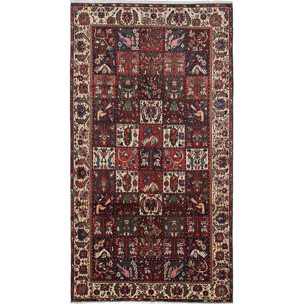 eCarpetGallery Hand-knotted Bakhtiar Dark Red Wool Rug - 5'5 x 9'11
