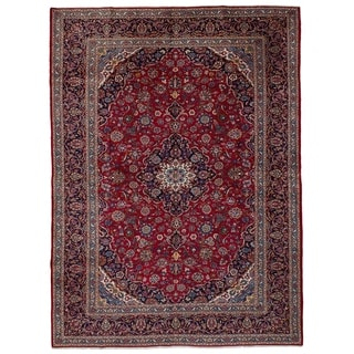 eCarpetGallery  Hand-knotted Kashan Red Wool Rug - 9'7 x 13'8