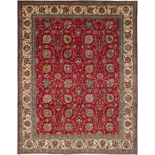 eCarpetGallery  Hand-knotted Tabriz Red Wool Rug - 9'9 x 12'10