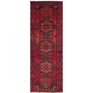 eCarpetGallery  Hand-knotted Hamadan Red Wool Rug - 3'4 x 10'2