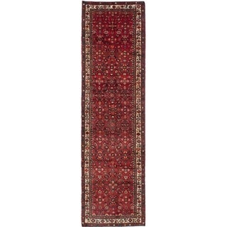 eCarpetGallery  Hand-knotted Hosseinabad Red Wool Rug - 3'7 x 13'0