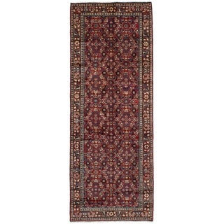 eCarpetGallery  Hand-knotted Hosseinabad Red Wool Rug - 3'5 x 9'8