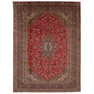 eCarpetGallery  Hand-knotted Kashan Red Wool Rug - 9'6 x 13'0