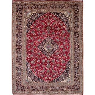 eCarpetGallery  Hand-knotted Kashan Red Wool Rug - 9'8 x 12'9