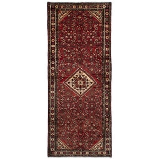 eCarpetGallery  Hand-knotted Hosseinabad Red Wool Rug - 3'6 x 8'11