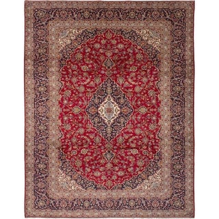 eCarpetGallery  Hand-knotted Kashan Red Wool Rug - 9'9 x 12'8