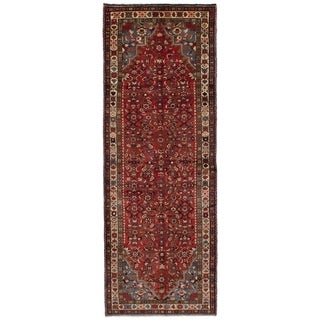 eCarpetGallery  Hand-knotted Hosseinabad Red Wool Rug - 3'7 x 10'5