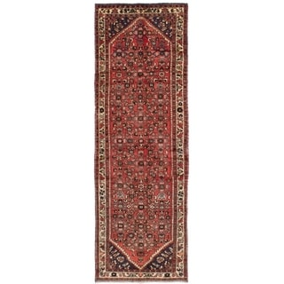 eCarpetGallery  Hand-knotted Hosseinabad Dark Copper Wool Rug - 3'3 x 10'2