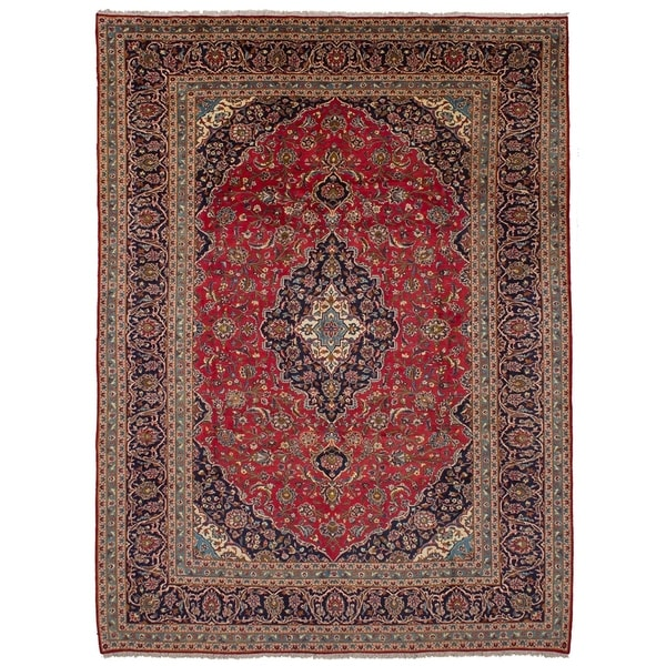 eCarpetGallery Hand-knotted Kashan Red Wool Rug - 9'7 x 13'2