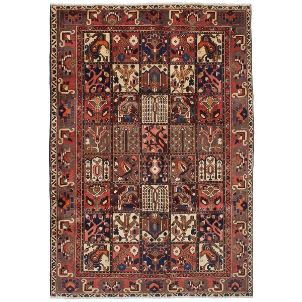eCarpetGallery Hand-knotted Bakhtiar Brown, Copper Wool Rug - 6'6 x 9'10