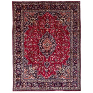 eCarpetGallery  Hand-knotted Mashad Red Wool Rug - 9'9 x 13'1