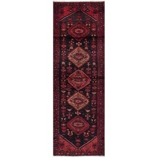 eCarpetGallery  Hand-knotted Hamadan Black, Red Wool Rug - 3'5 x 11'0