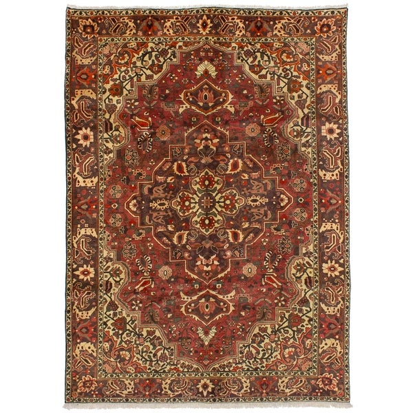 eCarpetGallery Hand-knotted Bakhtiar Red Wool Rug - 6'10 x 9'9