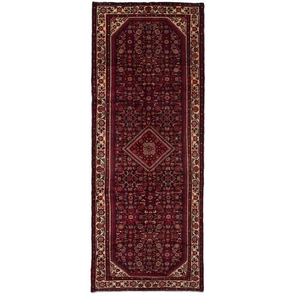 eCarpetGallery Hand-knotted Hosseinabad Dark Navy, Red Wool Rug - 4'0 x 10'9