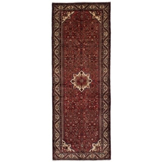 eCarpetGallery  Hand-knotted Hosseinabad Red Wool Rug - 3'9 x 10'4