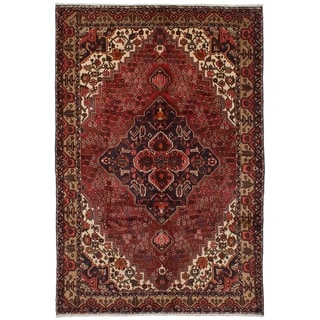 eCarpetGallery  Hand-knotted Bakhtiar Dark Red Wool Rug - 6'7 x 10'0