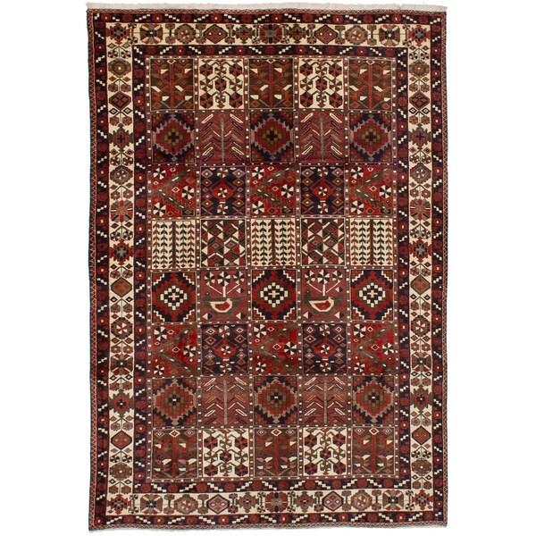 eCarpetGallery Hand-knotted Bakhtiar Dark Red Wool Rug - 6'9 x 10'0
