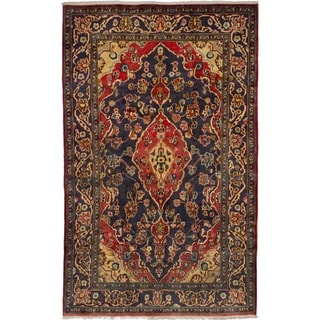 eCarpetGallery  Hand-knotted Mahal Navy Blue Wool Rug - 4'10 x 7'8