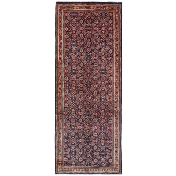 eCarpetGallery Hand-knotted Mahal Navy Blue Wool Rug - 3'9 x 10'3