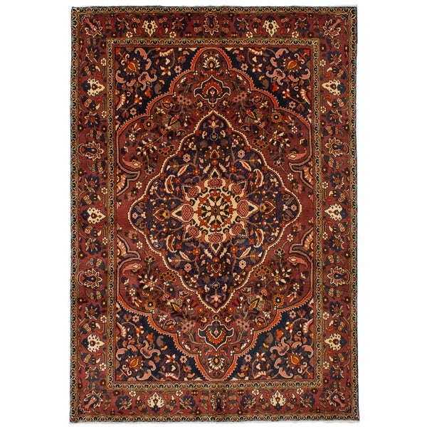 eCarpetGallery Hand-knotted Bakhtiar Dark Red Wool Rug - 6'7 x 10'2