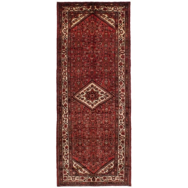eCarpetGallery Hand-knotted Hosseinabad Red Wool Rug - 3'11 x 10'4