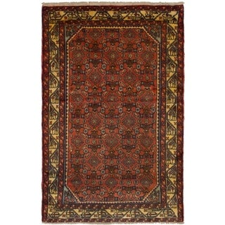 eCarpetGallery  Hand-knotted Hosseinabad Dark Copper Wool Rug - 3'2 x 4'10