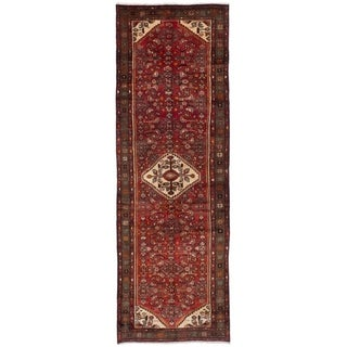 eCarpetGallery  Hand-knotted Hosseinabad Dark Copper Wool Rug - 3'5 x 10'6
