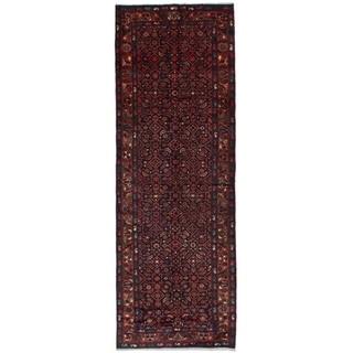 eCarpetGallery  Hand-knotted Hosseinabad Dark Navy Wool Rug - 3'5 x 10'4
