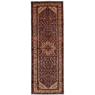 eCarpetGallery  Hand-knotted Hosseinabad Dark Navy, Dark Red Wool Rug - 3'7 x 10'5