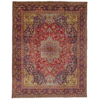 eCarpetGallery  Hand-knotted Tabriz Red Wool Rug - 9'10 x 12'10