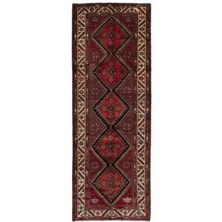 eCarpetGallery  Hand-knotted Koliai Dark Red Wool Rug - 3'8 x 10'6