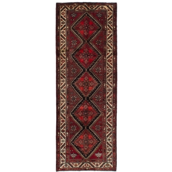 eCarpetGallery Hand-knotted Koliai Dark Red Wool Rug - 3'8 x 10'6