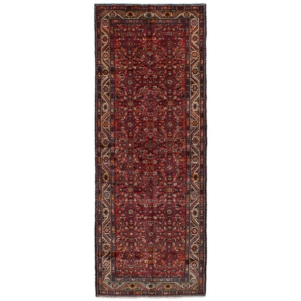 eCarpetGallery Hand-knotted Hosseinabad Red Wool Rug - 3'8 x 10'2
