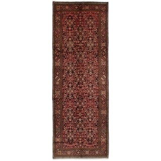 eCarpetGallery  Hand-knotted Hosseinabad Black, Red Wool Rug - 3'10 x 10'10