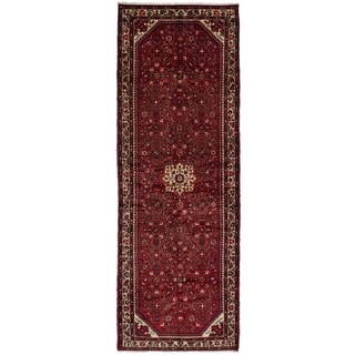 eCarpetGallery  Hand-knotted Hosseinabad Red Wool Rug - 3'8 x 10'9