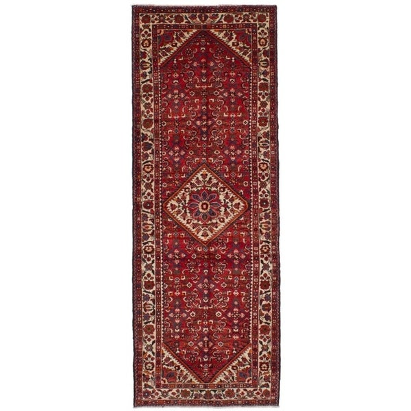 eCarpetGallery Hand-knotted Borchelu Red Wool Rug - 3'6 x 10'2