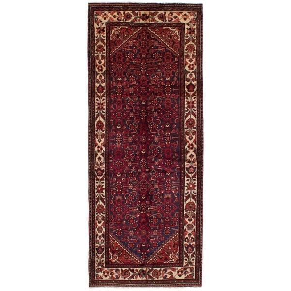 eCarpetGallery Hand-knotted Hosseinabad Dark Navy, Red Wool Rug - 3'11 x 9'11