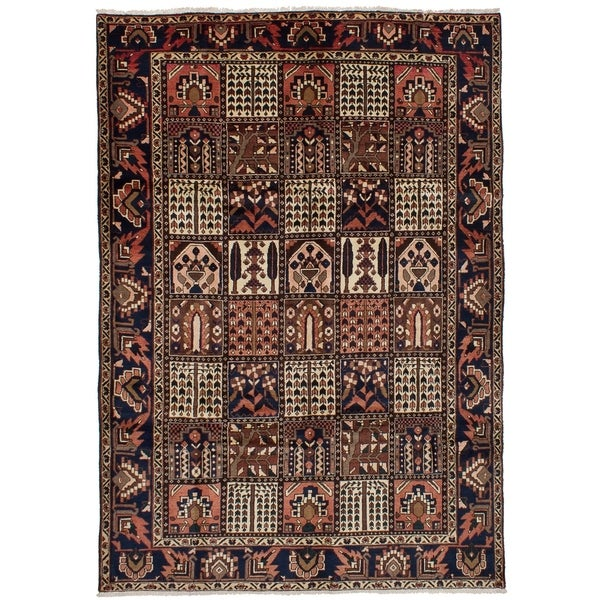 eCarpetGallery Hand-knotted Bakhtiar Brown Wool Rug - 6'11 x 10'2