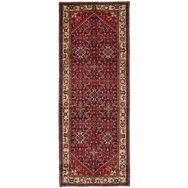 eCarpetGallery Hand-knotted Hosseinabad Black Wool Rug - 3'11 x 10'8