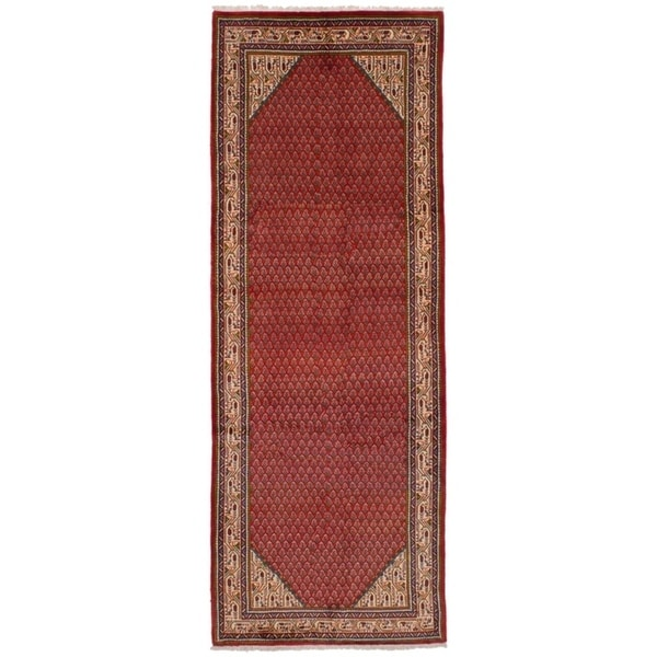 eCarpetGallery Hand-knotted Arak Red Wool Rug - 3'6 x 10'0