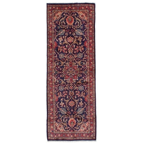 eCarpetGallery Hand-knotted Mahal Dark Navy, Red Wool Rug - 3'5 x 10'2