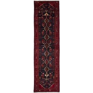 eCarpetGallery  Hand-knotted Hamadan Dark Navy, Dark Red Wool Rug - 3'7 x 13'1