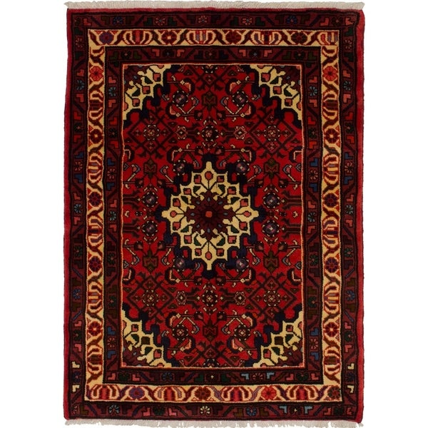 eCarpetGallery Hand-knotted Hosseinabad Red Wool Rug - 3'6 x 4'9